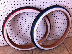 "Bicycle Tire 26"" x 2.125 Red-Line Blue-Line Orange-Line Crui"