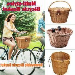 Bike Basket Wicker Woven Bicycle Front Basket Handlebar Stor