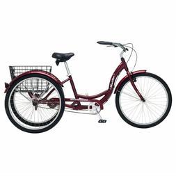 Black Cherry Adult 3-Wheel Cruiser Bike Tricycle w Basket Be