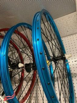 "Blue 26"" Bicycle Alloy WheelSet 12G Heavy Duty Spokes Cruise"