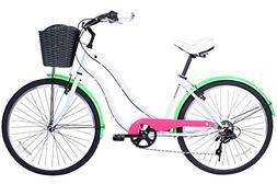 Gama Bikes Boardwalk 26-Inch Fluor Step Thru 6 Speed Shimano
