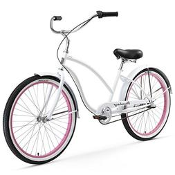 Firmstrong Chief Lady Three Speed Beach Cruiser Bicycle, 26-