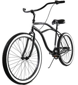 Zycle Fix Classic Beach Cruiser Men 3 Speed Bicycle Bike Bla