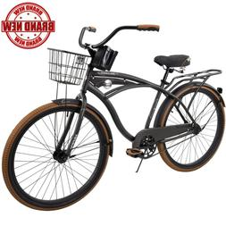 "Huffy Cruiser Bike 26"" Men's Gray Commuter Comfort City Beac"