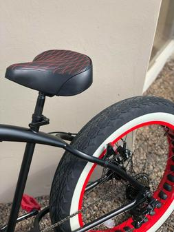 Custom Beach Cruiser Comfortable Bicycle Seat- RED STITCHING