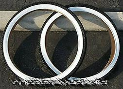 1 PAIR of Duro Diamond Tread Tire White Wall 26 x 2.125, for