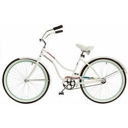 "26"" Titan Docksider Deluxe Women's Beach Cruiser Bike, White"