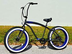Sikk Fat Tire Beach Cruiser Bicycle 7 Speed Flat Black Blue