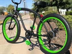 Fat Tire Beach Cruiser Bike- 26X3 Bk-Green 57mm Rims- 7 spee