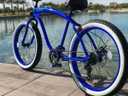 Fat Tire Beach Cruiser Bike- 26X3 Blue 57mm Rims- 7 speed -