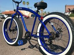 fat tire beach cruiser bike electric blue