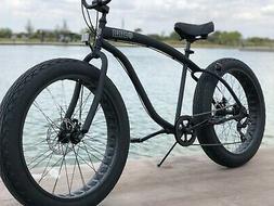 Fat Tire Beach Cruiser Bike 🌴 Flat Black  - 7 SPEED-CUTOU