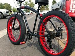 Fat Tire Beach Cruiser Bike 🌴 Flat Black w Red  - 7 SPEED