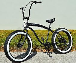 Fat Tire Beach Cruiser Bike 🌴 Flat Black w Whitewall - 7