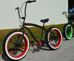 Fat Tire Beach Cruiser Bike ?? SIKK Black w Red Rim WW Tires