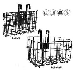 HOMEE Folding Rear Bike Basket - Wire Mesh Detachable Front
