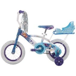 Huffy Girls' Frozen 12 Inch Bike with Sleigh, Blue, 1 Speed,