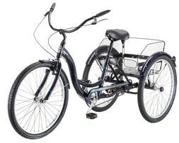 Full-Sized Tricycle Single Speed,26-inch Wheels Blue Men Wom