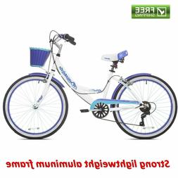 "Girl Hybrid Bike Kent 24"" White Purple Step Through Cruiser"