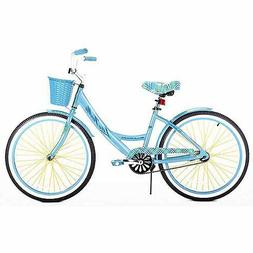 Girls Beach Cruiser Bike 24 Inch BLue 7 Speed Steel Frame Bi