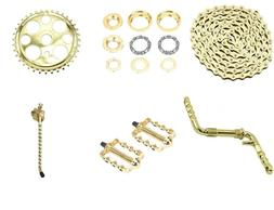 """Gold Twisted Crank Package 6- Items for 20"""" Lowrider Cruiser"""