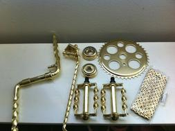 """Gold Twisted Crank Package 6- Items for 26"""" Lowrider Cruiser"""