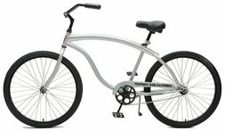 Heavy Duty Mens Cruiser Bike - Silver. FAST SHIPPING