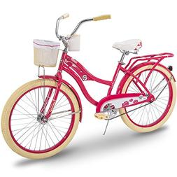 Huffy Cruiser Bike Womens, Holbrook 24 inch, Lavender & Red