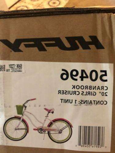 "Huffy 20"" Cranbrook Girls'' Cruiser Bike with Basket, White"