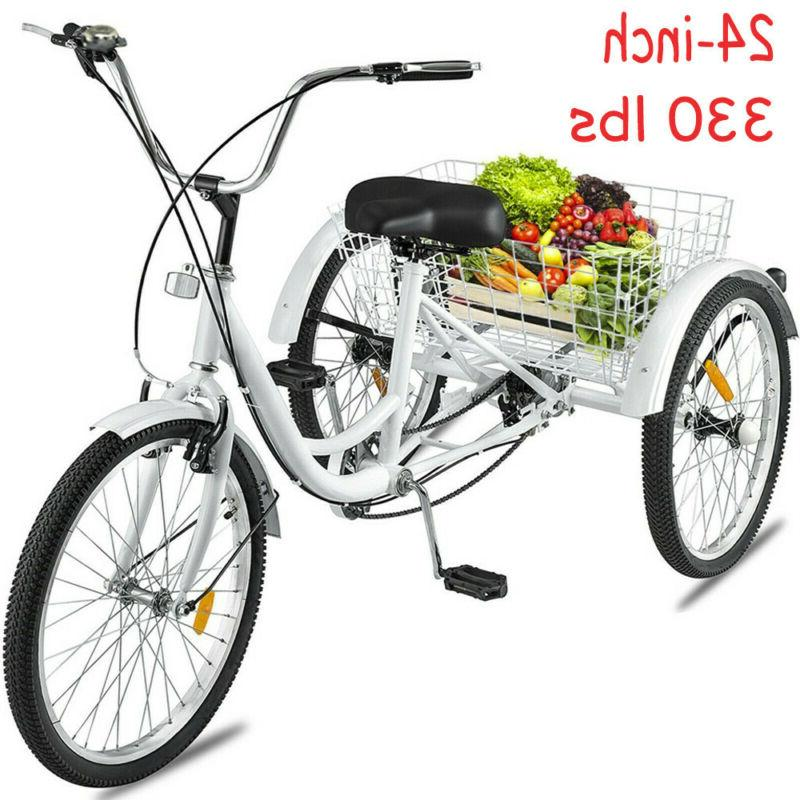 """24""""/20"""" Adult Tricycle Trike Cruiser Bicycle w/Basket for Shopping"""
