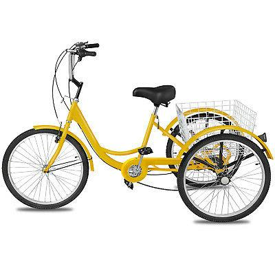 Adult Tricycle 1 Yellow Trike w/ Basket