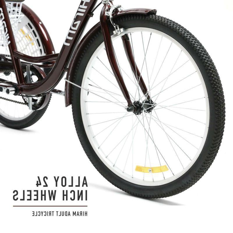 "24"" Tricycle Three Wheel Trike Bike Cruiser with Seat"