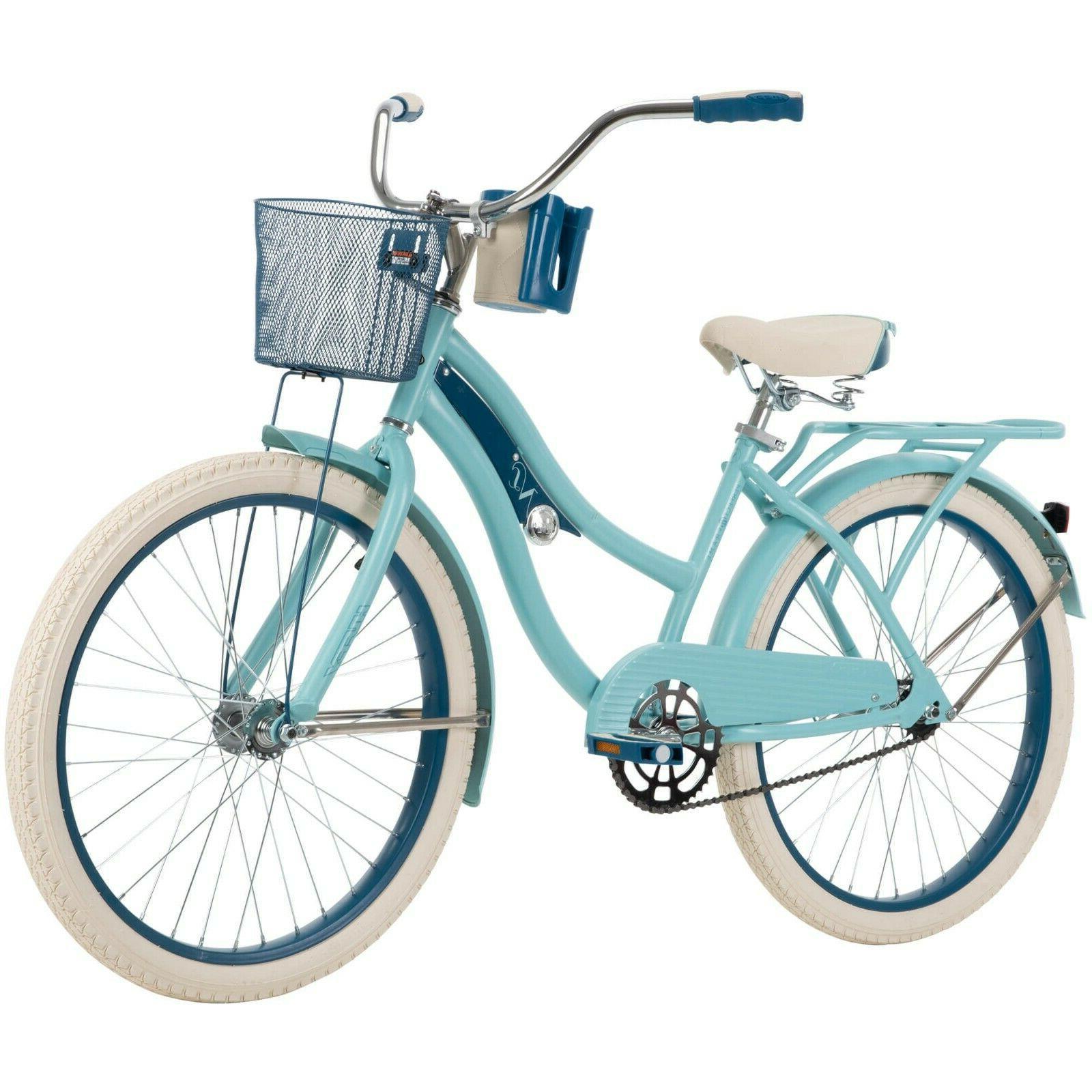 24 nel lusso girls cruiser bike blue