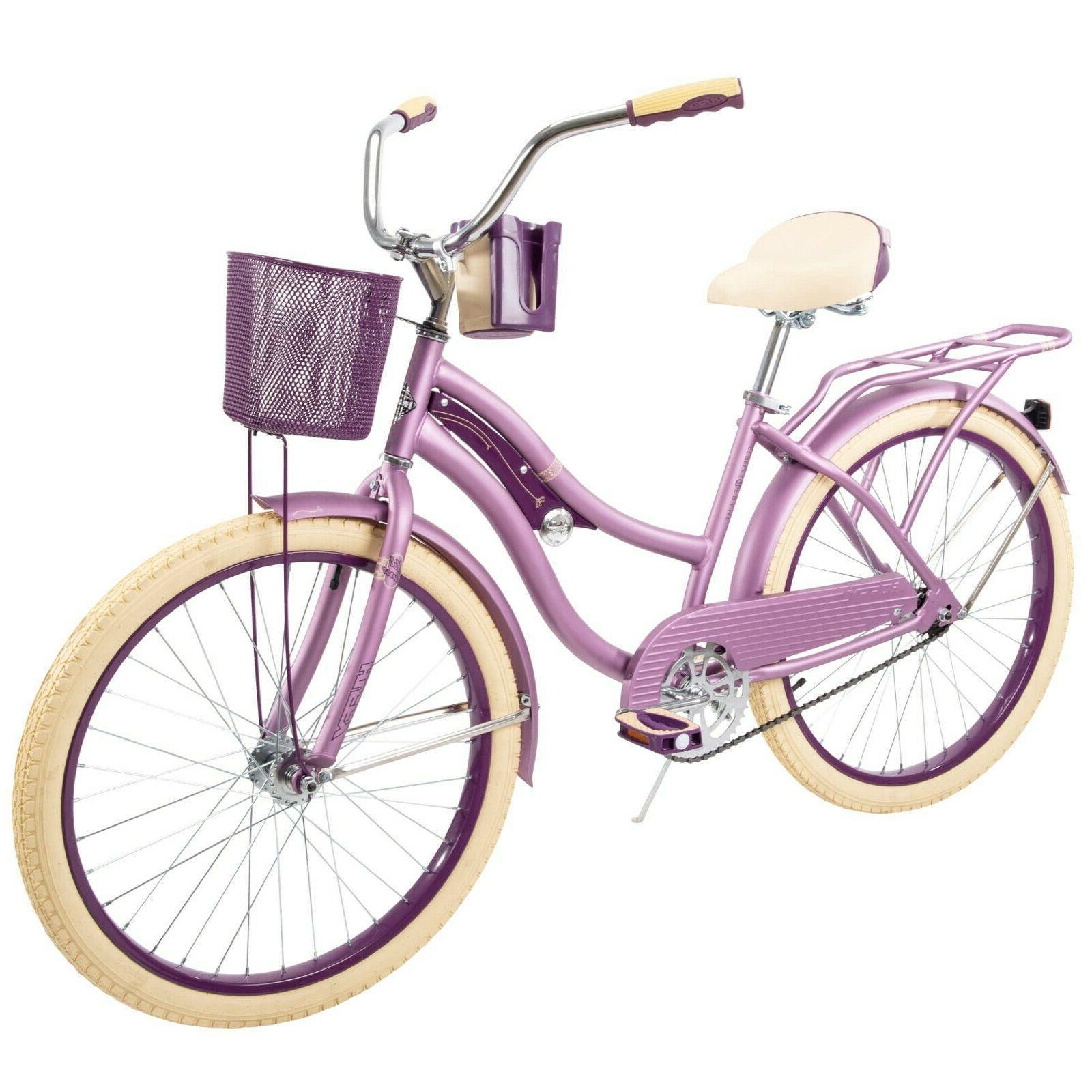 """Brand New Huffy 24"""" Nel Lusso Girls' Cruiser Bike Purple Pin"""