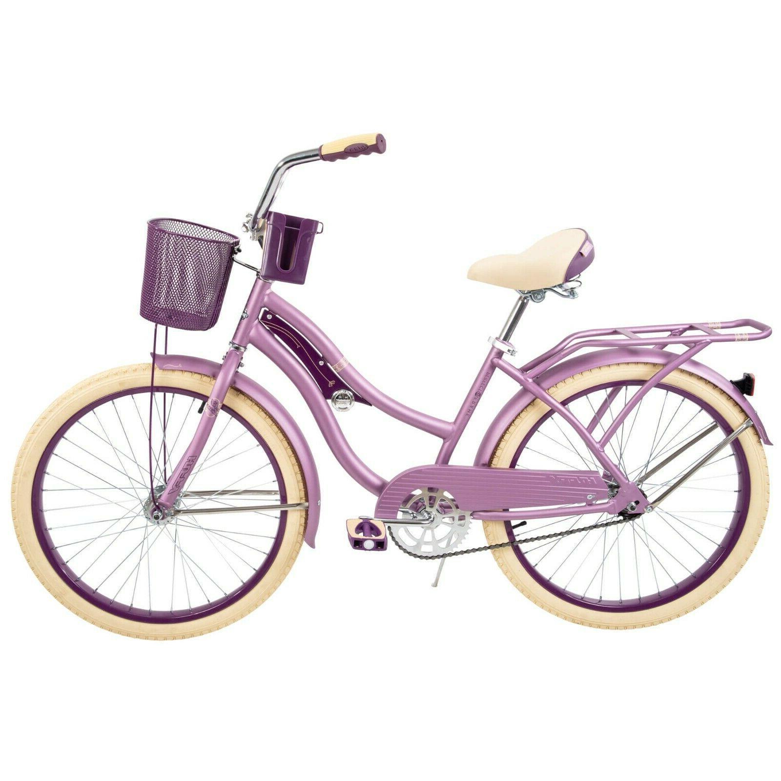 24 nel lusso girls cruiser bike purple