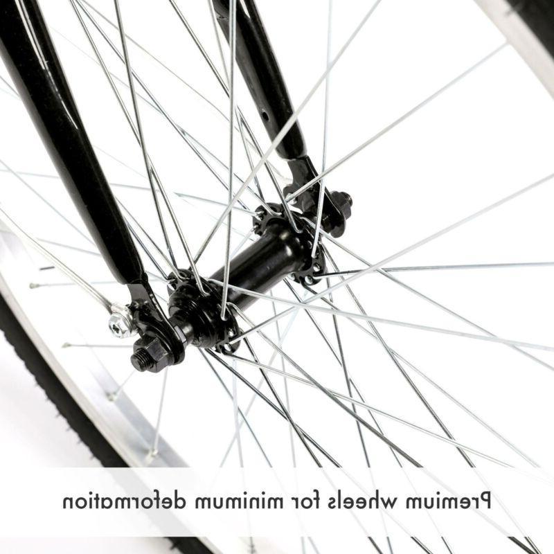 "26""/24""/20"" 1/8 Speed Tricycle Trike 3-Wheel Cruiser Bike w/Basket for Shopping"