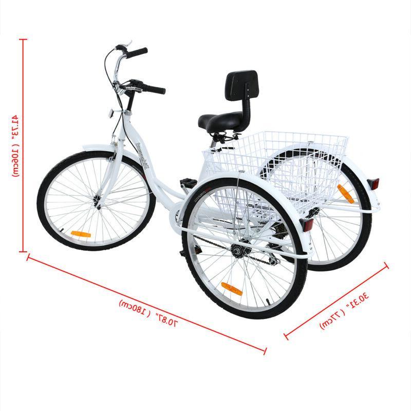 """Ridgeyard 26"""" 7-Speed Adult 3-Wheel Tricycle Trike Bike"""