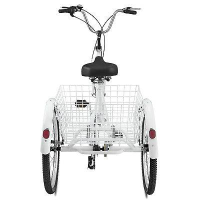 "24""Adult 3-Wheel Bicycle Trike Cruiser w/Tools & White"