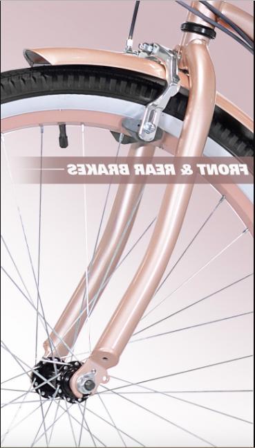 """26"""" Cruiser Bike Rose Hybrid Low Bicycle"""