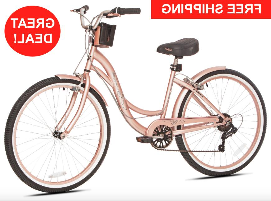 26 beach cruiser womens bike rose gold