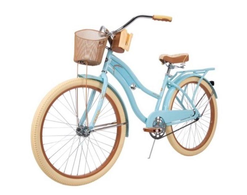 "Huffy 26"" Lusso cup holder, Blue, with basket"