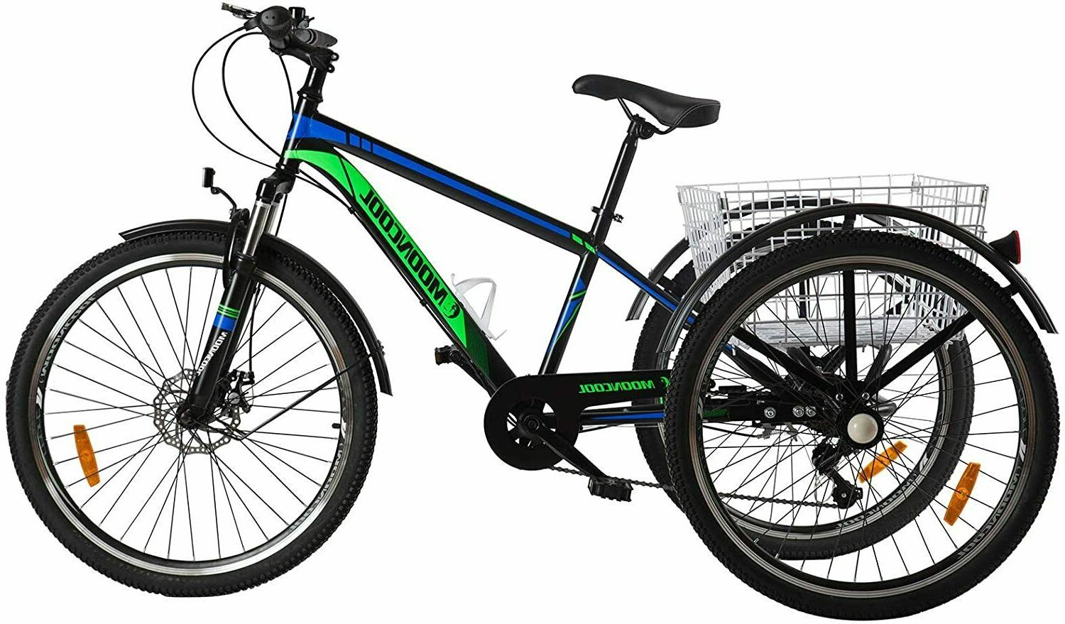 """Adult 26"""" Mountain Tricycle 7 Speed Outdoor Bike Cruiser Tri"""
