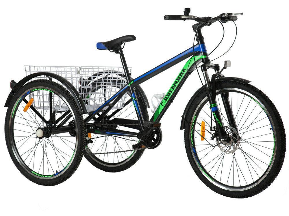 Adult 7 Speed 3 Bike Cruiser Basket