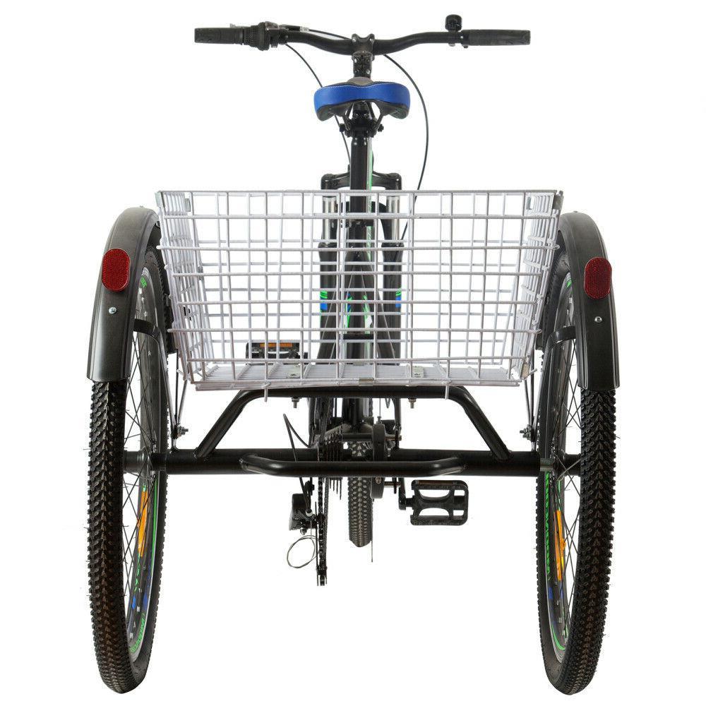 """Adult 24/26"""" Mountain 7 Bike Trike w/Cargo Basket"""