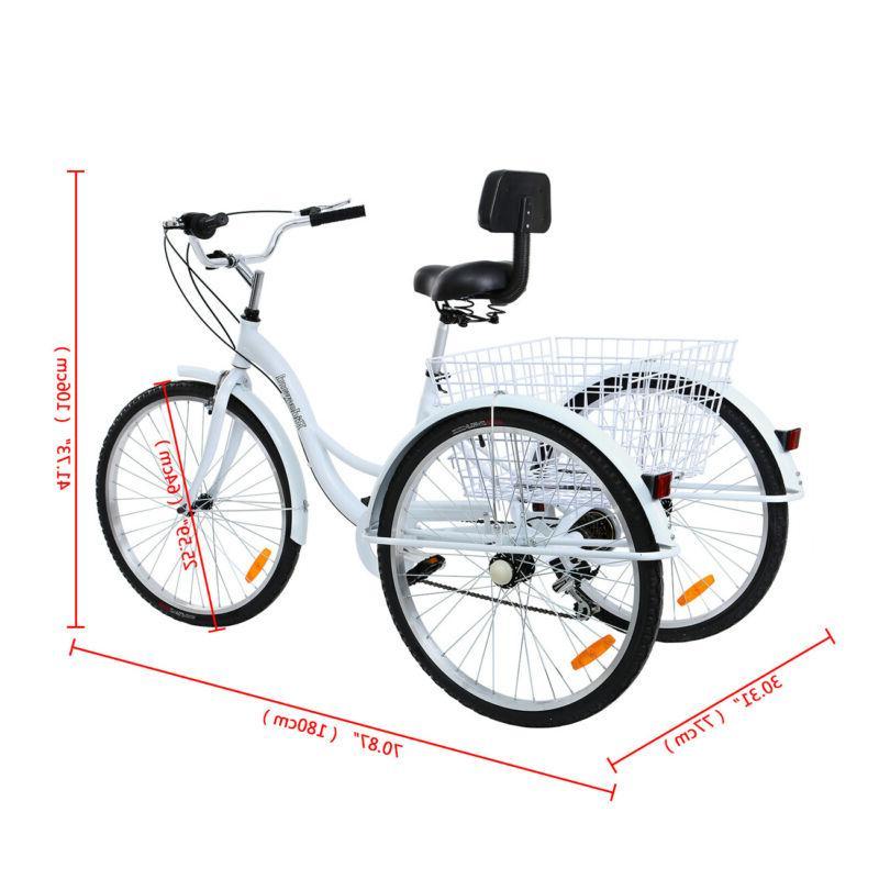 Ridgeyard Adult Tricycle 7-Speed Low Step Trike Bike Cruise