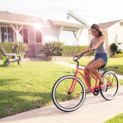 "sixthreezero The Block Women's Single Speed Bicycle, Coral Seat/Grips, Wheels/17"""