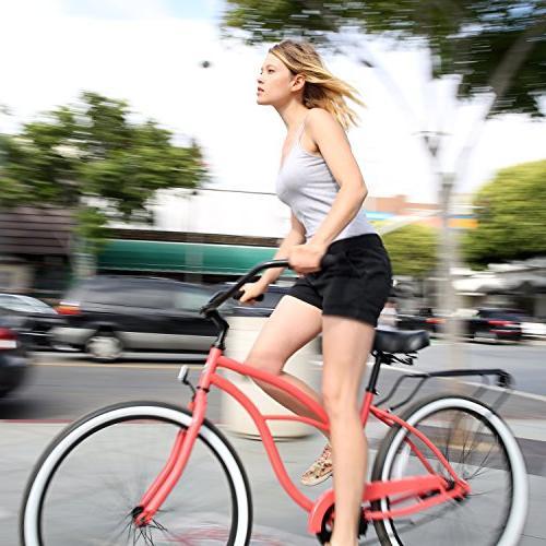"sixthreezero Block Women's Single Bicycle, Coral Seat/Grips, 26"" Frame"