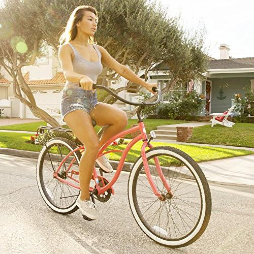 "sixthreezero Around Block Women's Cruiser Bicycle, Coral Seat/Grips, 26"" Wheels/17"""