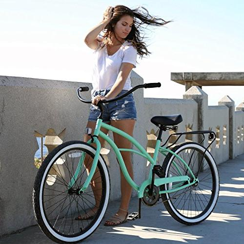 Women's Single Speed Bicycle, Mint Black Seat/Grips, Frame