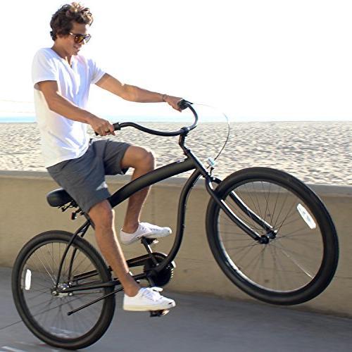 sixthreezero Barrel 3-Speed Beach Bicycle, Black w/Black Seat/Grips, Frame